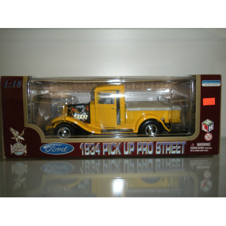 Lote 001 Road Legends 1/18 Ford Pick Up Pro Street 1934 Amarelo